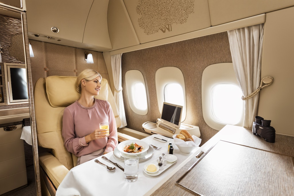 Emirates Boeing 777 First Class private suite dining