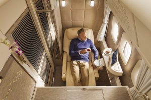 Emirates Boeing 777 First Class private suite inside