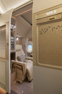 Emirates Boeing 777 First Class private suite outside
