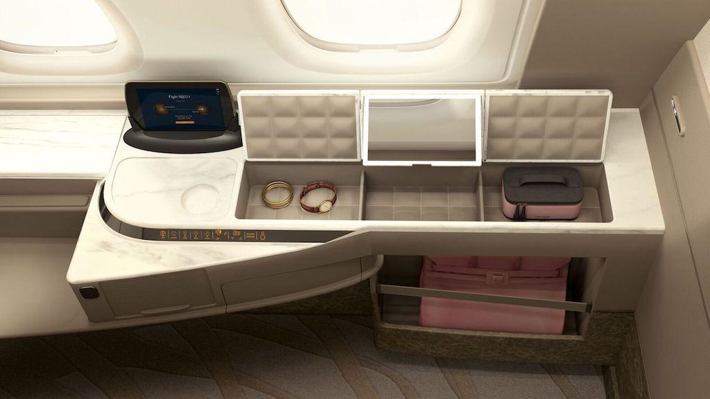 Singapore Airlines Suites storage
