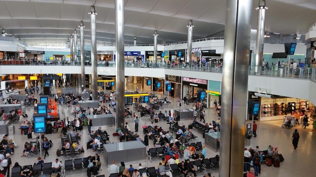 London Heathrow crowded terminal